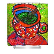 Green Tea In Red Cup Shower Curtain