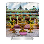 Green Temple Shower Curtain