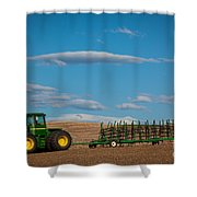 Green Tractor Shower Curtain