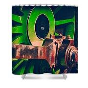 Green Train Wheel Shower Curtain