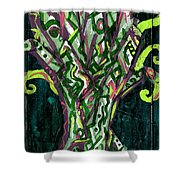 Green Tree With Pink Watercolor Shower Curtain