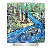 Green Trees With Rocks And River Shower Curtain