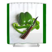 Green Veggie Munchie Shower Curtain