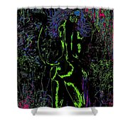 Green Vibrating Wood Nymph Shower Curtain