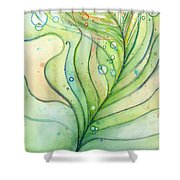 Green Watercolor Bubbles Shower Curtain by Olga Shvartsur
