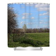 Green Wheat Field With Blue Sky Shower Curtain