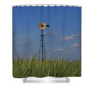 Green Wheat  Field With Green And Yellow Windmill Shower Curtain by Robert D  Brozek