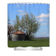 Green Wheatfield With An Old Grain Bin Shower Curtain