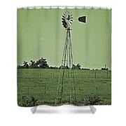 Green Windmill Shower Curtain