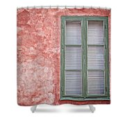 Green Window On Red Wall. Shower Curtain