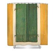 Green Window Shutters Shower Curtain