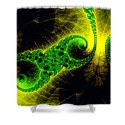 Green Yellow Black Abstract Fractal Art Vivid Colors Shower Curtain