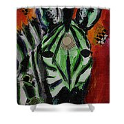 Green Zebra Stripes  Shower Curtain