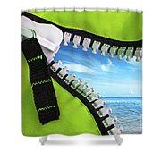 Green Zipper Shower Curtain