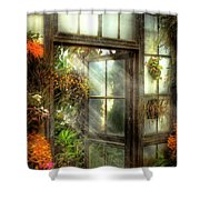 Greenhouse - The Door To Paradise Shower Curtain by Mike Savad