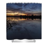 Greenlake Sunset With A Fallen Tree Shower Curtain