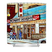 Greenspot Restaurant Notre Dame Street  South West Montreal Paintings Winter Hockey Scenes St. Henri Shower Curtain