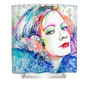 Greta Garbo - Colored Pens Portrait Shower Curtain