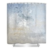 Gathered - Grey And Beige Abstract Art Painting Shower Curtain