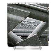 Grey Ford Tractor Logo Shower Curtain