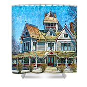 Grey Gables Mansion Shower Curtain