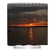 Grey Harbor Sunset  Shower Curtain