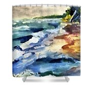 Grey Sky Day On The Lake Shower Curtain