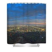 Griffith Observatory L.a. Skyline Dusk Lit Beautiful Shower Curtain