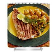 Grilled Fish Shower Curtain