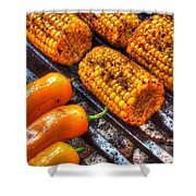 Grilling Corn And Peppers Shower Curtain