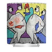 Grinding Teeth Shower Curtain by Anthony Falbo