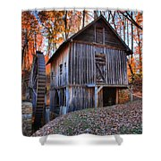 Grist Mill Under Fall Foliage Shower Curtain