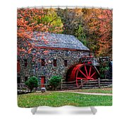 Grist Mill In Autumn Shower Curtain