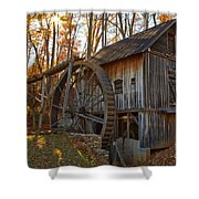 Grist Mill With A Golden Glow Shower Curtain