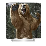 Grizzly Bear Attack On The Trail Shower Curtain