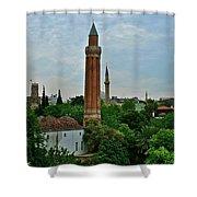 Grooved Minaret Fromthirteenth Century In Antalya-turkey Shower Curtain