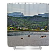 Gros Morne Mountain Over Bonne Bay At Norris Point In Gros Morne Np-nl Shower Curtain