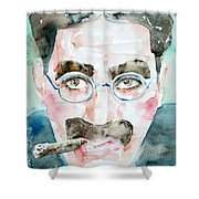 Groucho Marx Watercolor Portrait.1 Shower Curtain