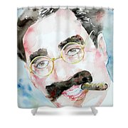 Groucho Marx Watercolor Portrait.2 Shower Curtain by Fabrizio Cassetta