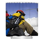 Group Heli Skiing, Helicopter Taking Shower Curtain
