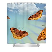 Group Of Butterflies And Sky Shower Curtain
