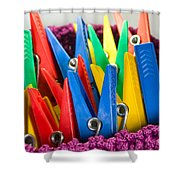 Group Of Colorful Clothespins Shower Curtain