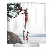 Group Of Family Members Jumping Shower Curtain