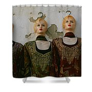 Group Of Mannequins In A Market Stall Shower Curtain