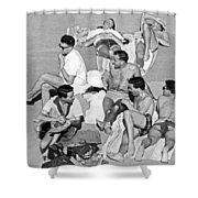 Group Of Men Sunbathing Shower Curtain