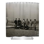 The Wright Brothers Group Portrait In Front Of Glider At Kill Devil Hill Shower Curtain