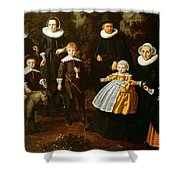 Group Portrait Of Three Generations Of A Family In The Grounds Of A Country House Oil On Canvas Shower Curtain