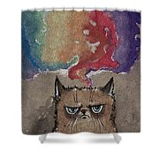 Grumpy Cat And Her Colorful Dreams Shower Curtain