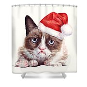 Grumpy Cat As Santa Shower Curtain