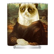 Grumpy cat mona lisa painting by tony rubino for Mona lisa shower curtain